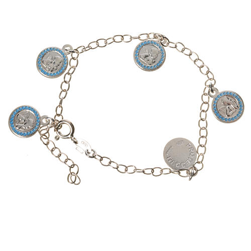 Bracciale argento 800 medaglie Angelo Custode azzurro 1