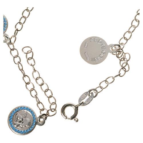Bracciale argento 800 medaglie Angelo Custode azzurro 2
