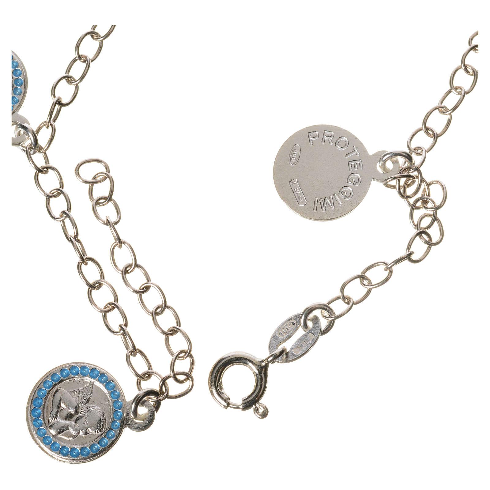 Bracelet in 800 silver with Guardian Angel medal, light blue 4