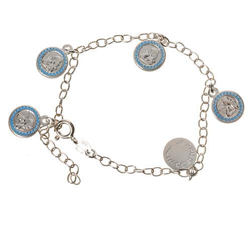 Bracelet in 800 silver with Guardian Angel medal, light blue 1