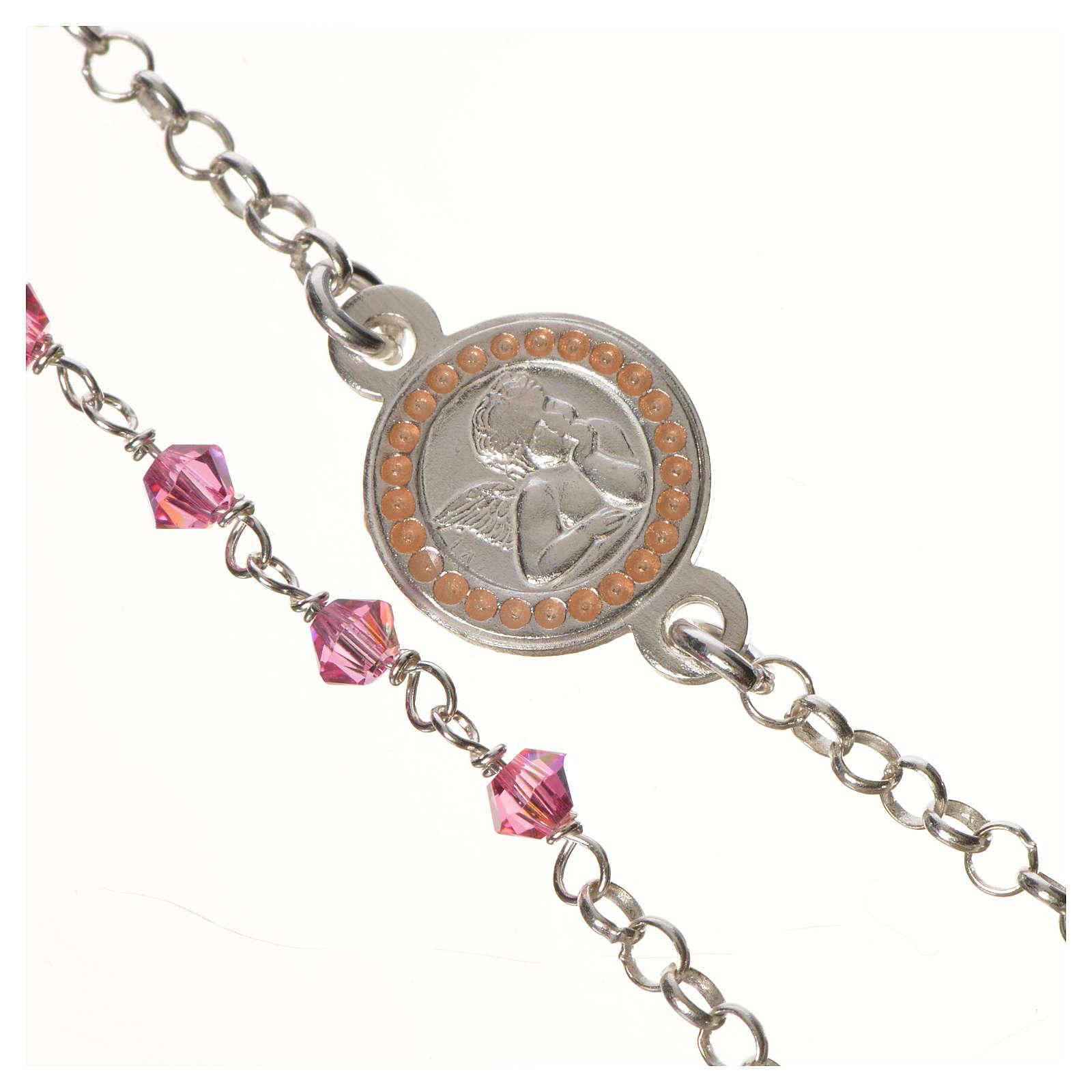 Bracciale argento 800 Swarovski rosa angelo custode 4