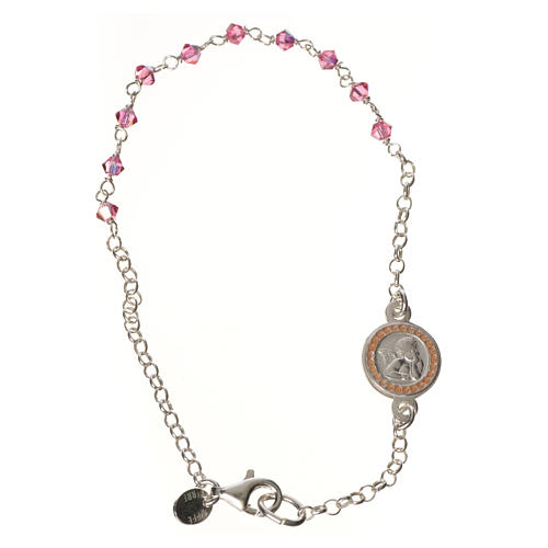 Bracciale argento 800 Swarovski rosa angelo custode 1