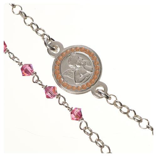 Bracciale argento 800 Swarovski rosa angelo custode 2