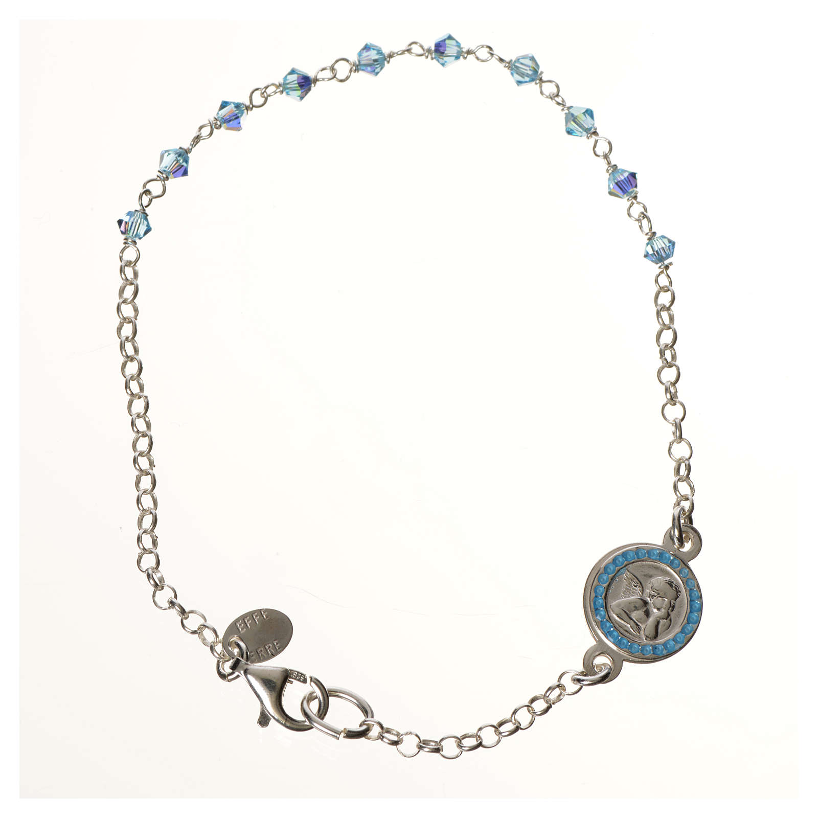 Bracelet argent 800 Swarovski bleus Ange Gardien 4