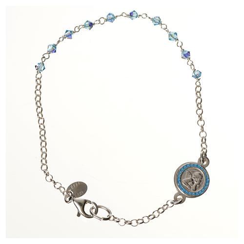 Bracelet argent 800 Swarovski bleus Ange Gardien 1