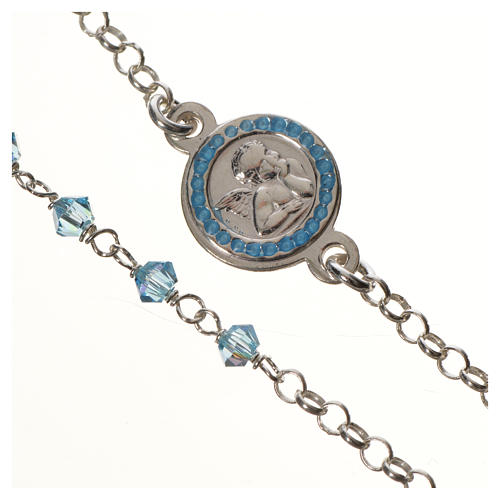 Bracelet argent 800 Swarovski bleus Ange Gardien 2