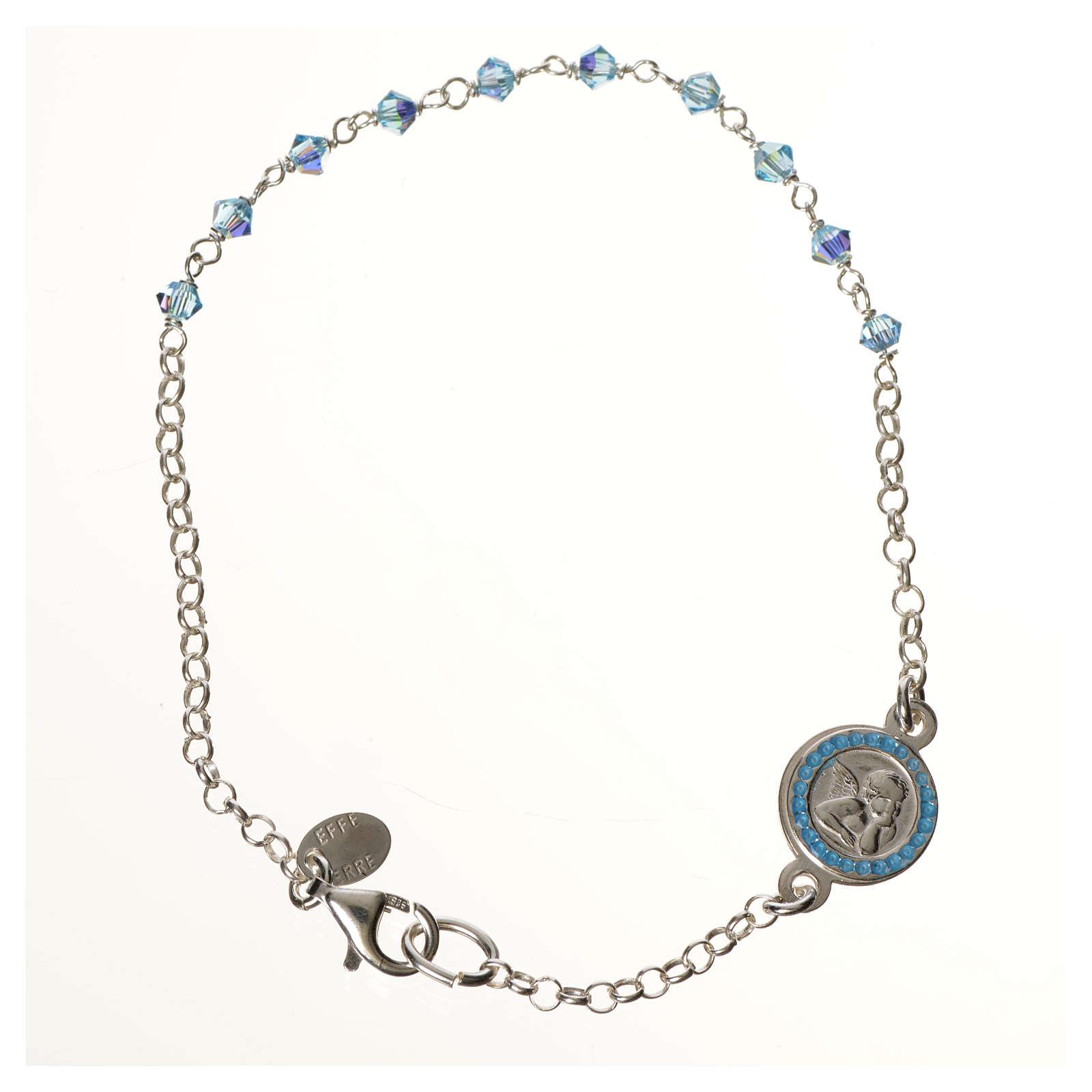 Bracciale argento 800 Swarovski azzurri angelo custode 4