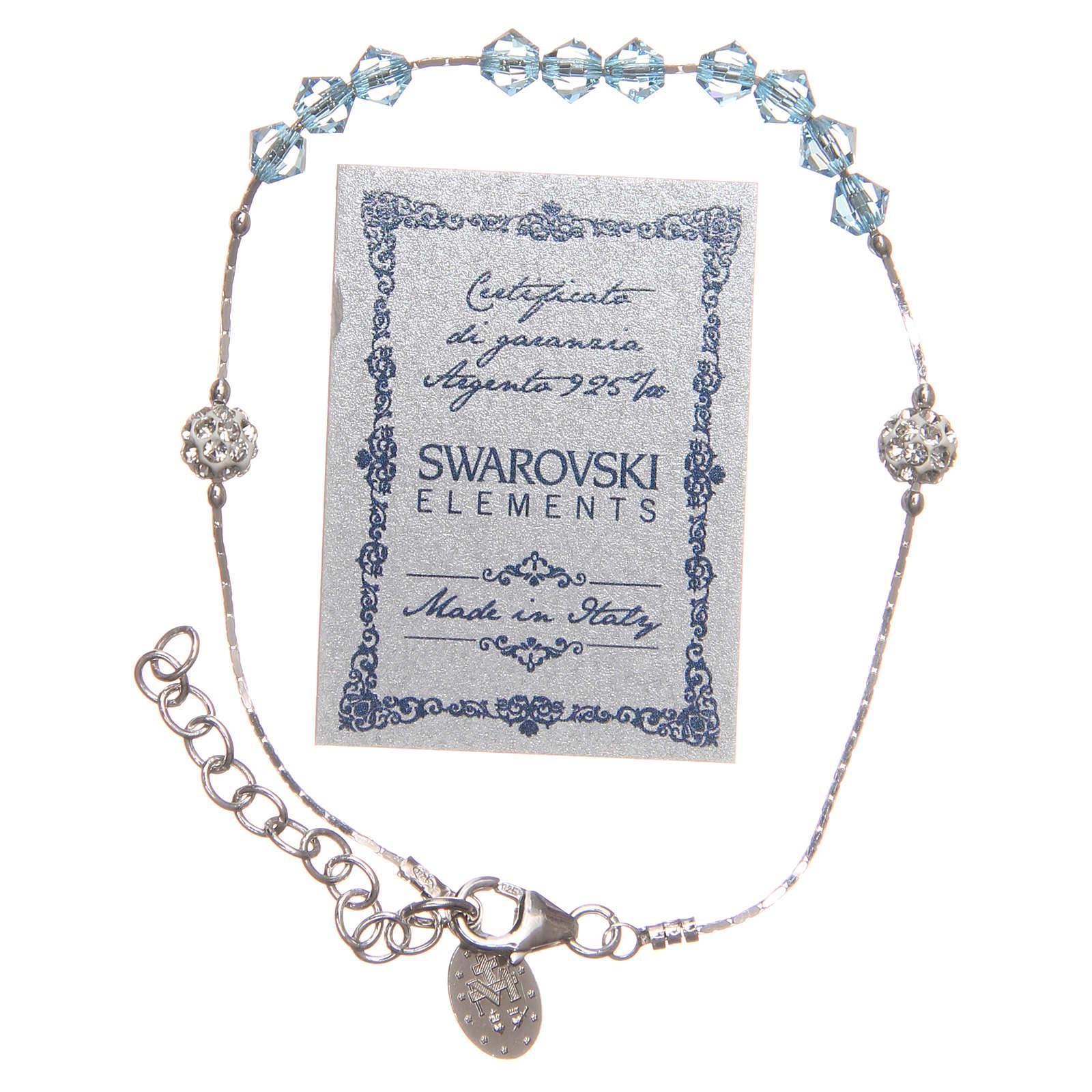 Bracelet argent 925 et Swarovski avec grains bleu ciel 4