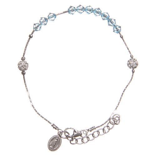 Bracelet argent 925 et Swarovski avec grains bleu ciel 1
