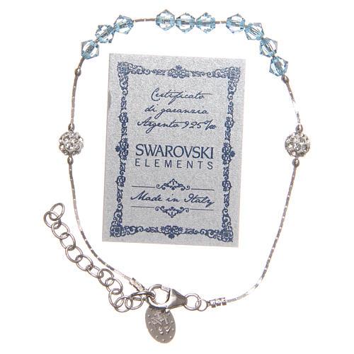 Bracelet argent 925 et Swarovski avec grains bleu ciel 2