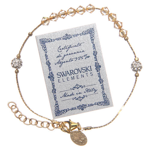 Bracciale Argento 925 dorato e Swarovski grano siam ambra 3