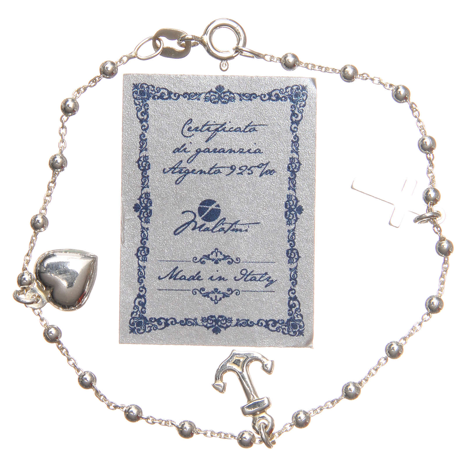 Bracelet argent 925 croix coeur ancre grains 3 mm 4