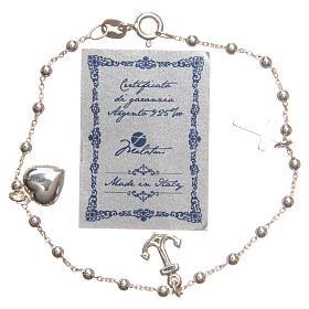 Bracelet argent 925 croix coeur ancre grains 3 mm s2