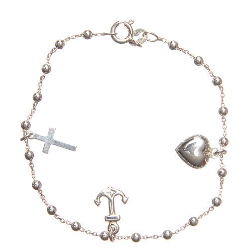 Bracelet argent 925 croix coeur ancre grains 3 mm 1