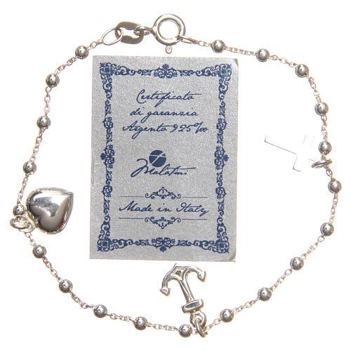 Bracelet argent 925 croix coeur ancre grains 3 mm 2