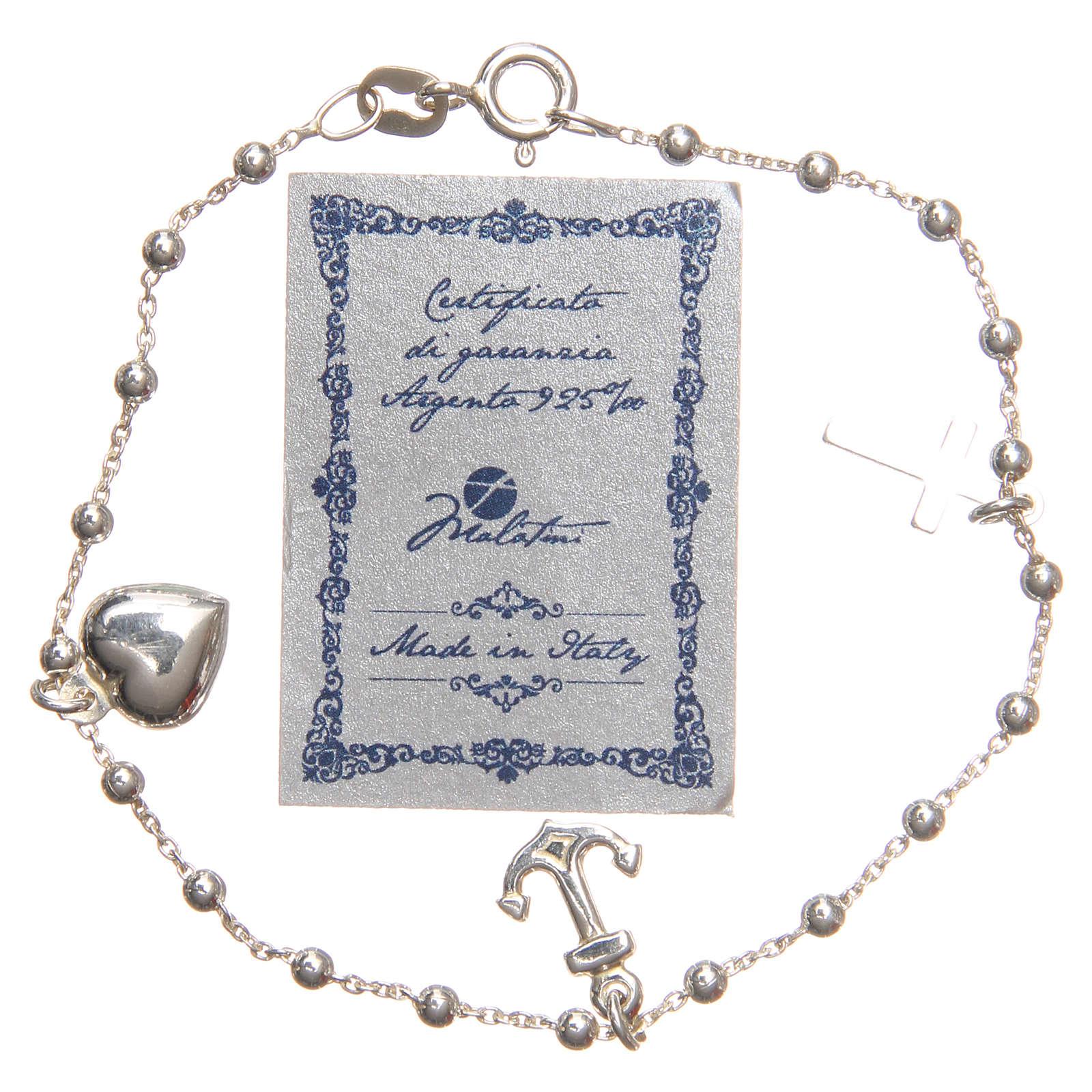 Braccialetto argento 925 croce cuore ancora 3 mm 4