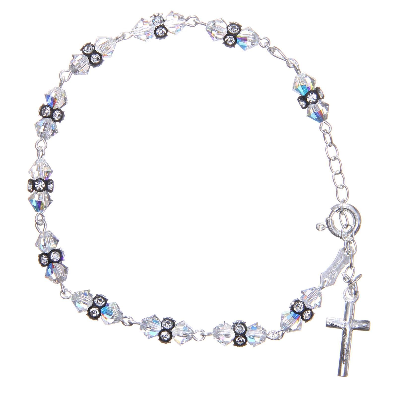 Bracelet chapelet cristaux Swarovski coniques blancs 4