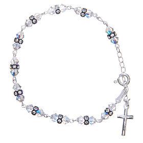 Bracelet chapelet cristaux Swarovski coniques blancs s1