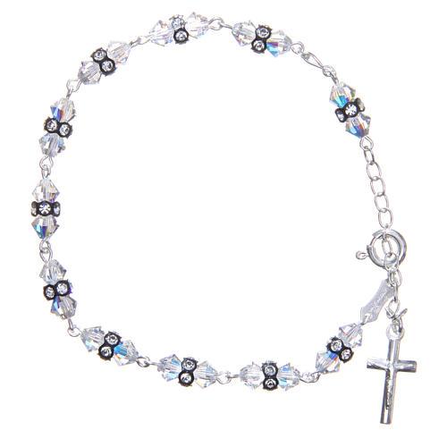 Bracelet chapelet cristaux Swarovski coniques blancs 1