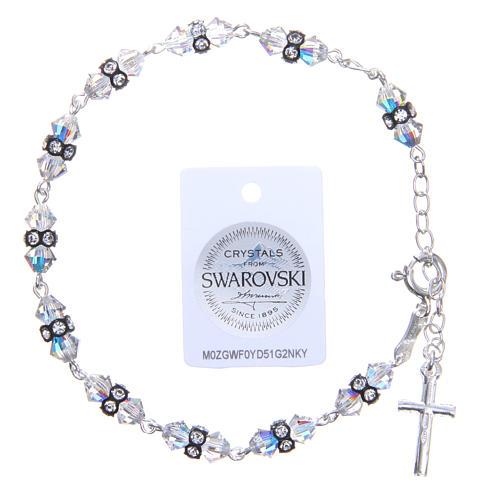 Bracelet chapelet cristaux Swarovski coniques blancs 2