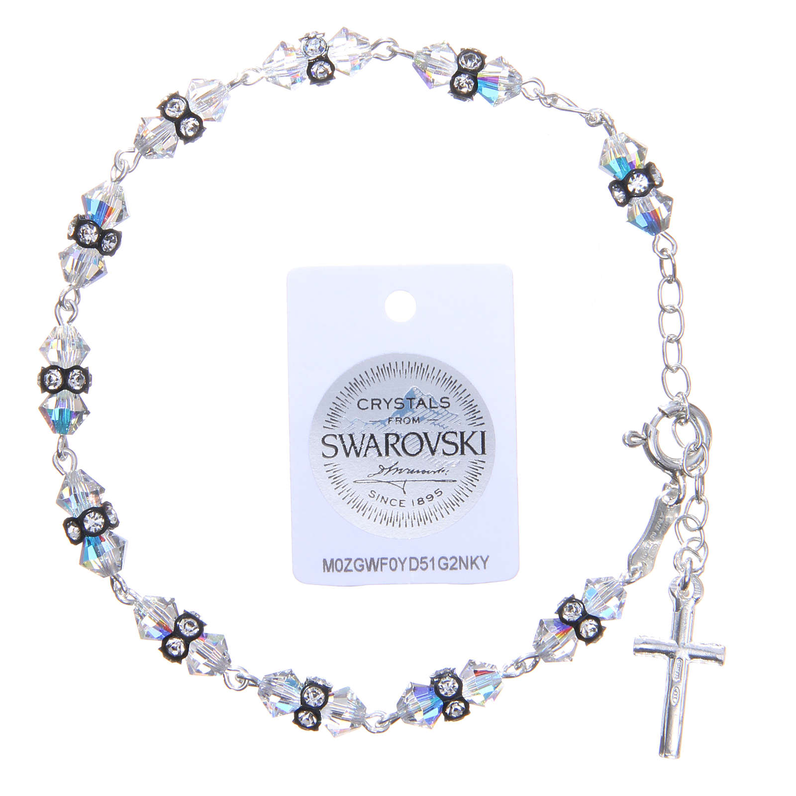 Bracciale rosario cristallo Swarovski conico bianco 4