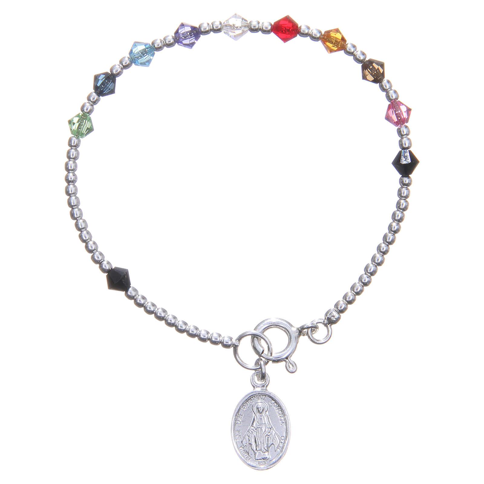 Rosary bracelet for children with multicoloured Swarowski beads 4
