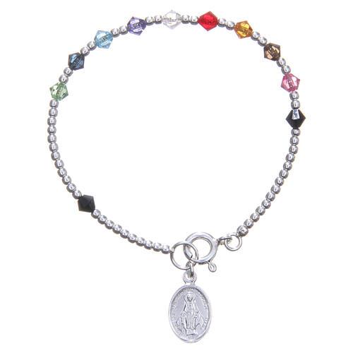 Rosary bracelet for children with multicoloured Swarowski beads 1
