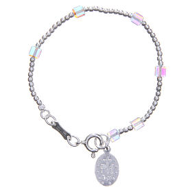 Rosary bracelet for children with white, cubic Swarowski beads s2