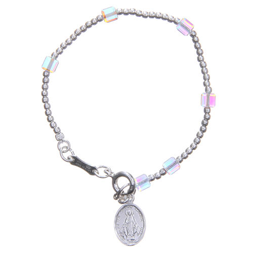 Rosary bracelet for children with white, cubic Swarowski beads 1