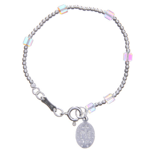 Rosary bracelet for children with white, cubic Swarowski beads 2