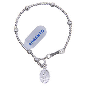 Rosary bracelet for children in 800 silver with striped beads 4mm s1