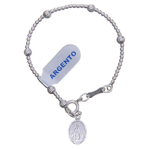 Rosary bracelet for children in 800 silver with striped beads 4mm 1