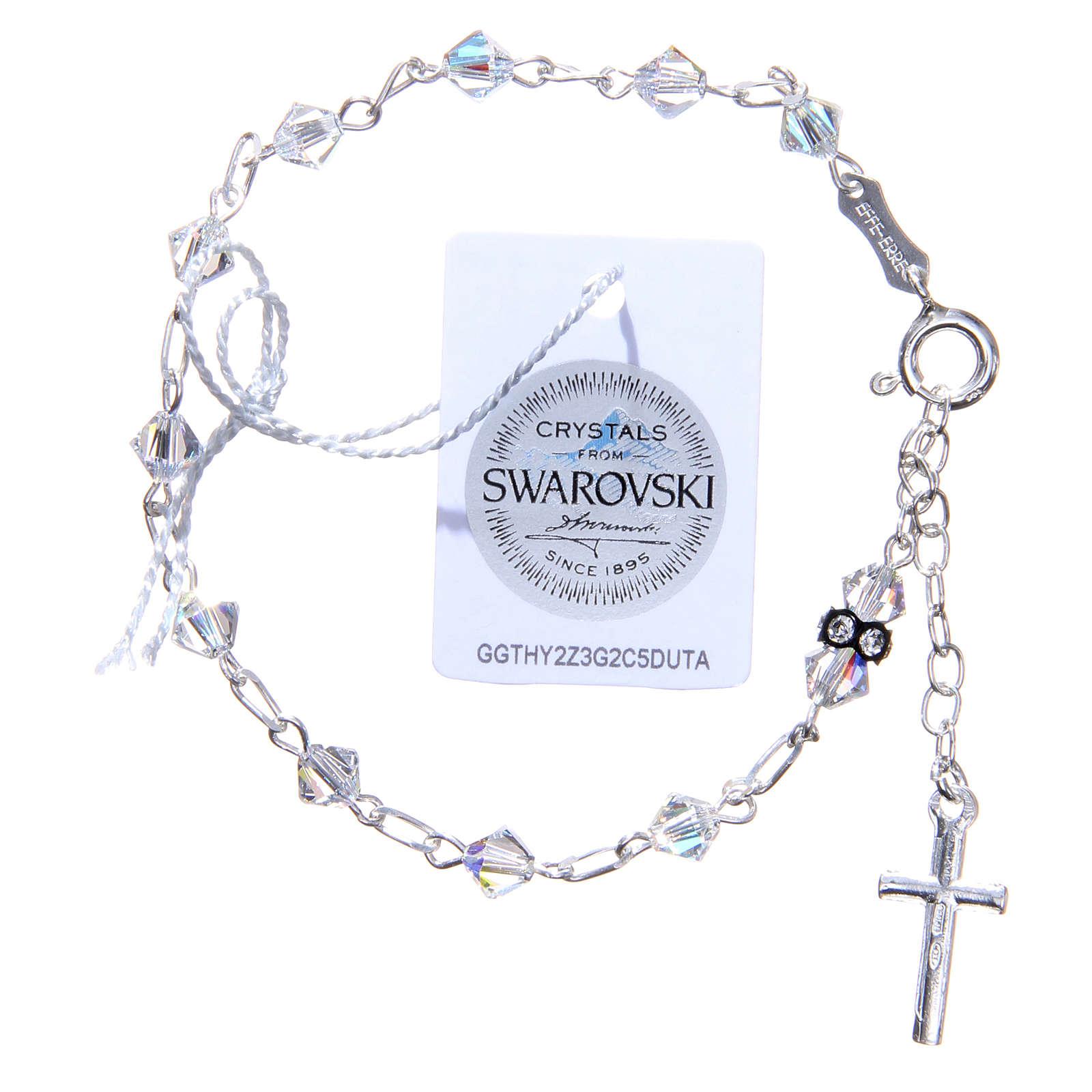 Bracciale rosario cristallo Swarovski conico bianco 5 mm 4