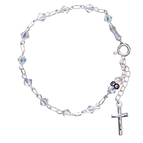 Bracciale rosario cristallo Swarovski conico bianco 5 mm 1