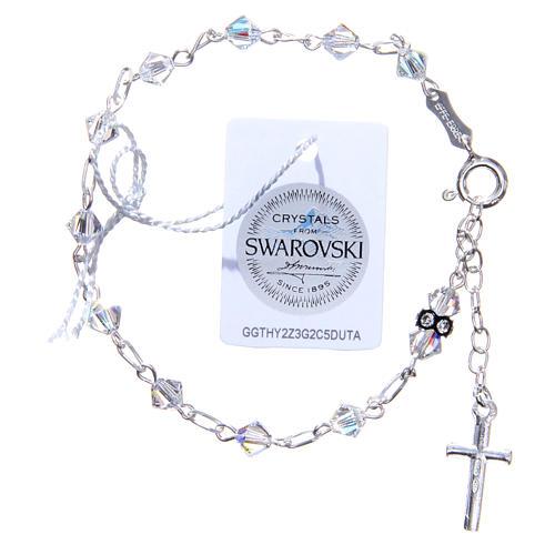 Bracciale rosario cristallo Swarovski conico bianco 5 mm 2