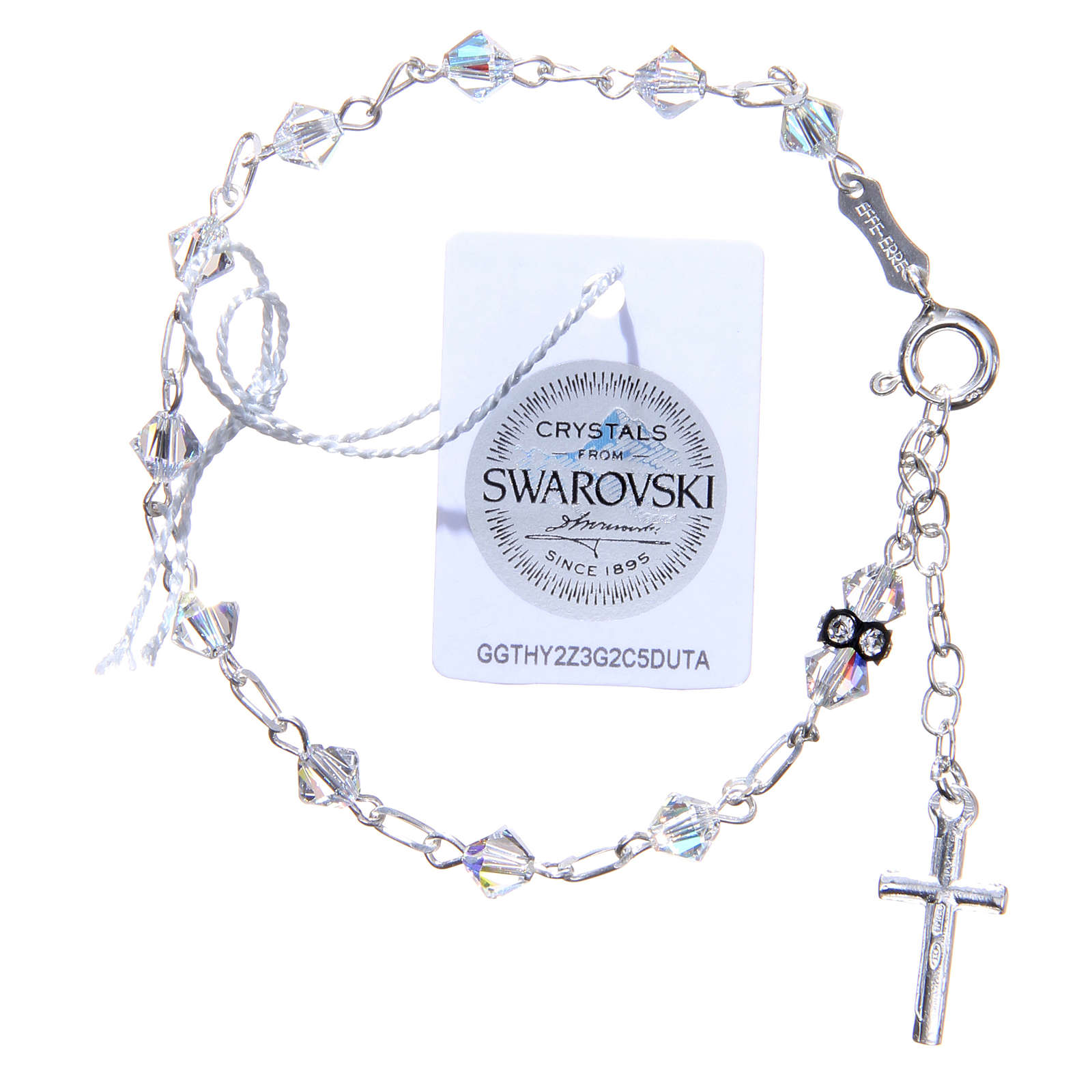 Rosary bracelet with cone shaped white Swarowski grains 4