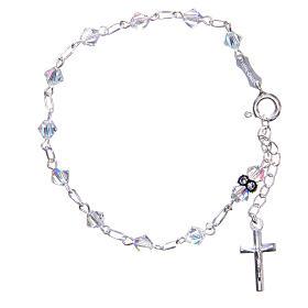 Rosary bracelet with cone shaped white Swarowski grains s1