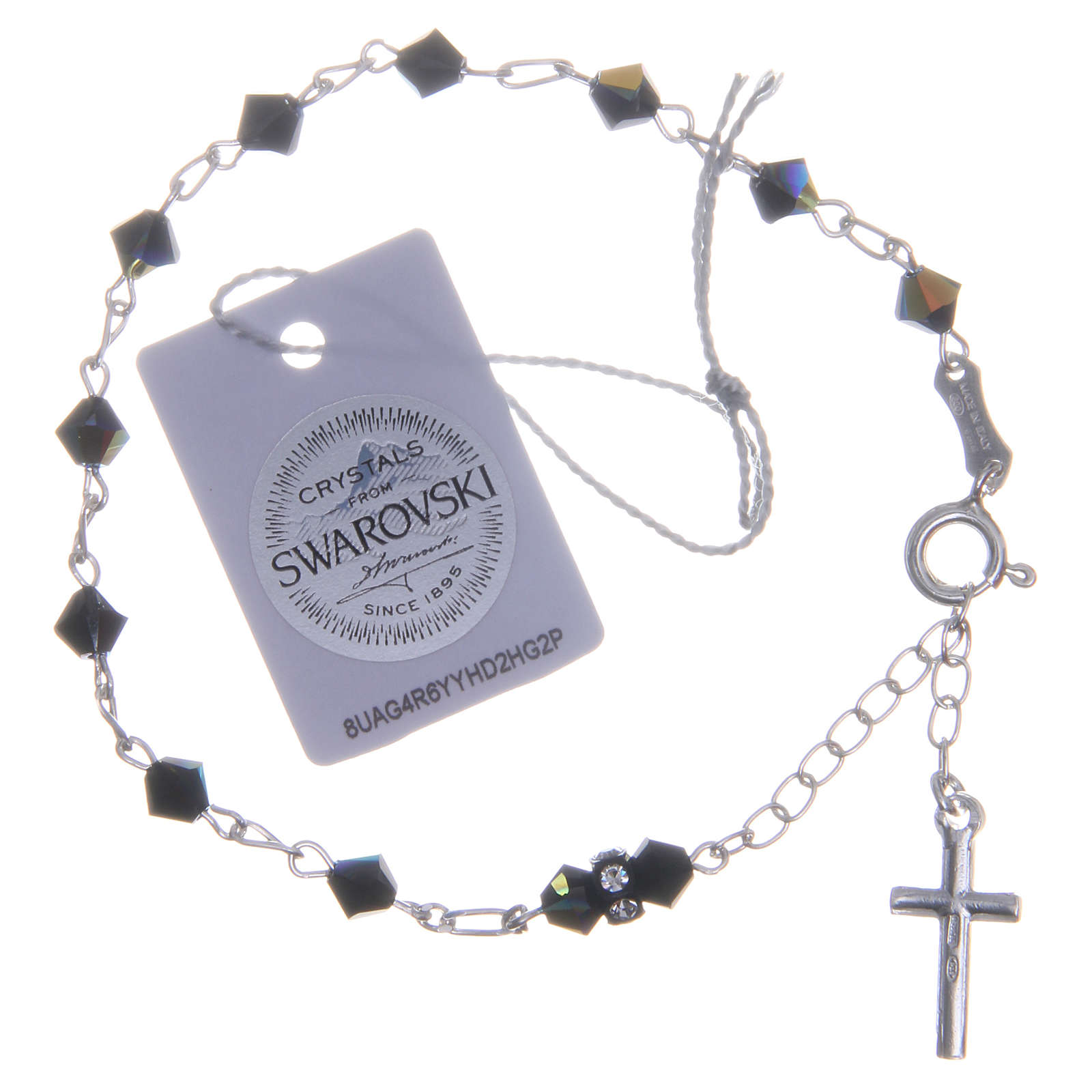 Rosary bracelet with cone shaped black Swarowski crystals 5mm 4