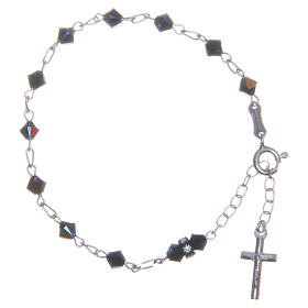 Rosary bracelet with cone shaped black Swarowski crystals 5mm s1
