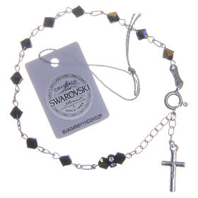 Rosary bracelet with cone shaped black Swarowski crystals 5mm s2