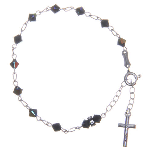 Rosary bracelet with cone shaped black Swarowski crystals 5mm 1