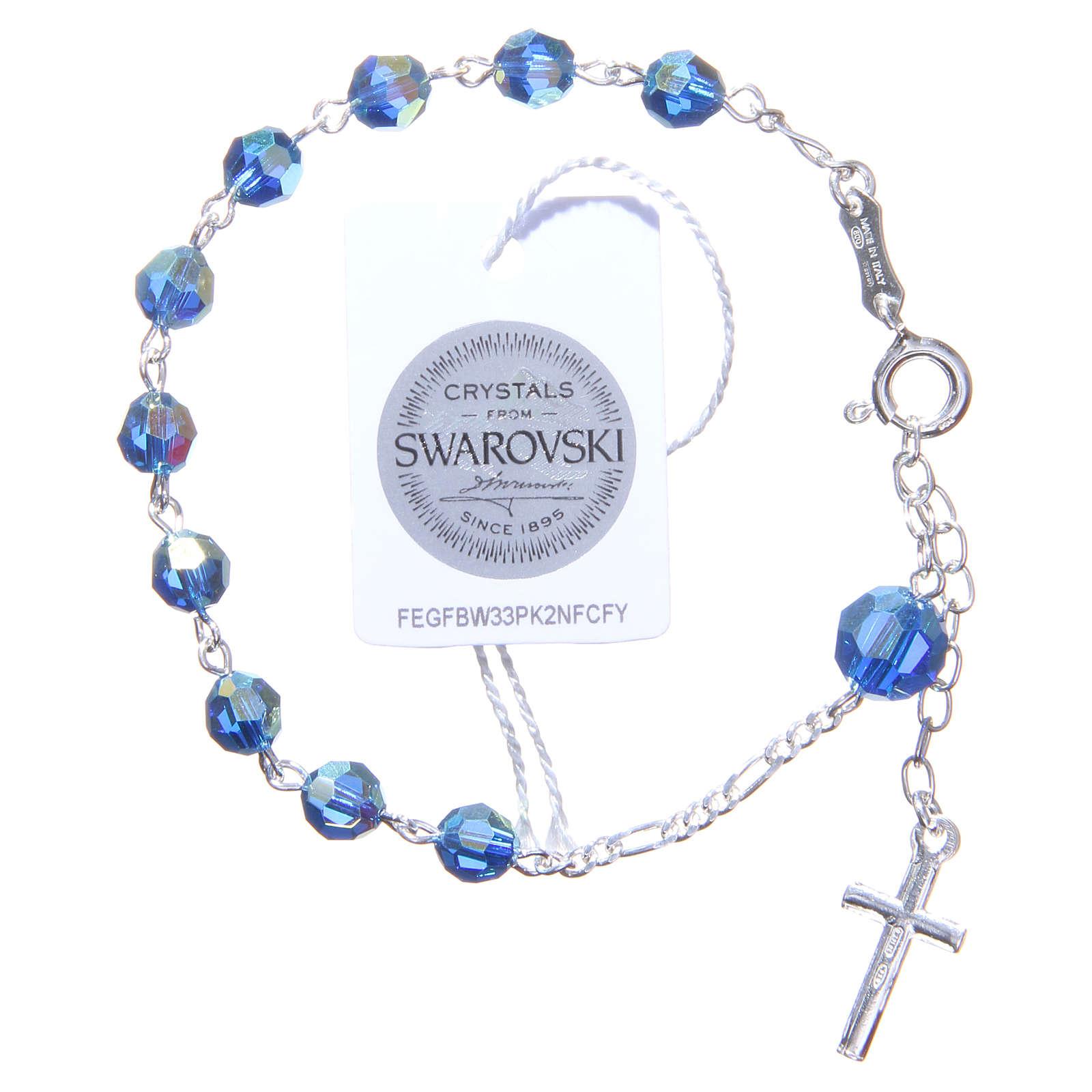 Bracciale rosario cristallo Swarovski 6 mm azzurro 4