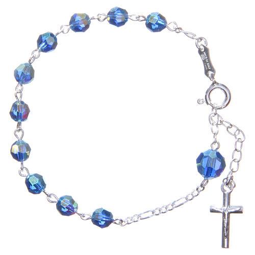 Bracciale rosario cristallo Swarovski 6 mm azzurro 1