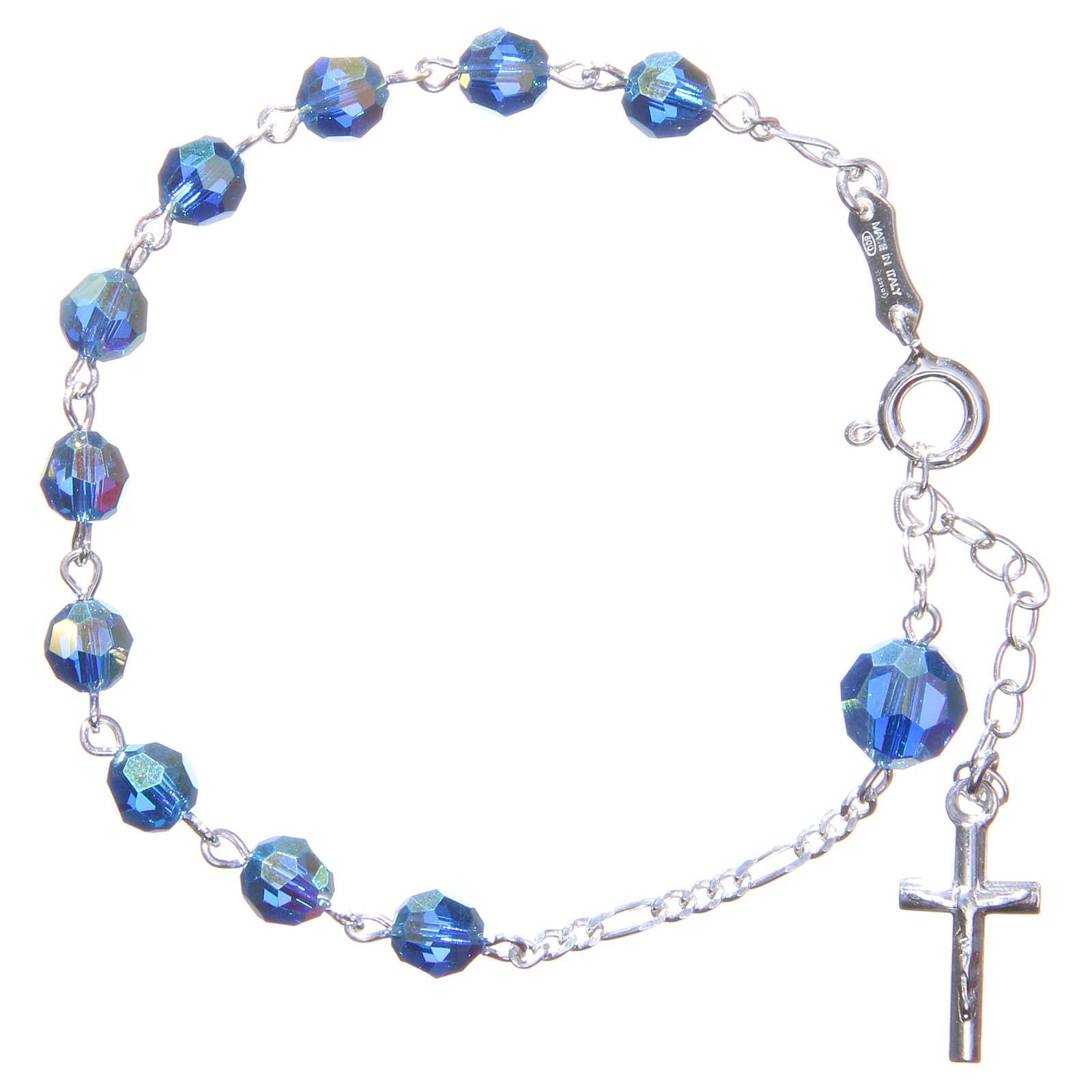 Rosary bracelet with light blue Swarowski crystals 6mm 4