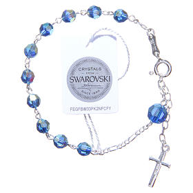 Rosary bracelet with light blue Swarowski crystals 6mm s2
