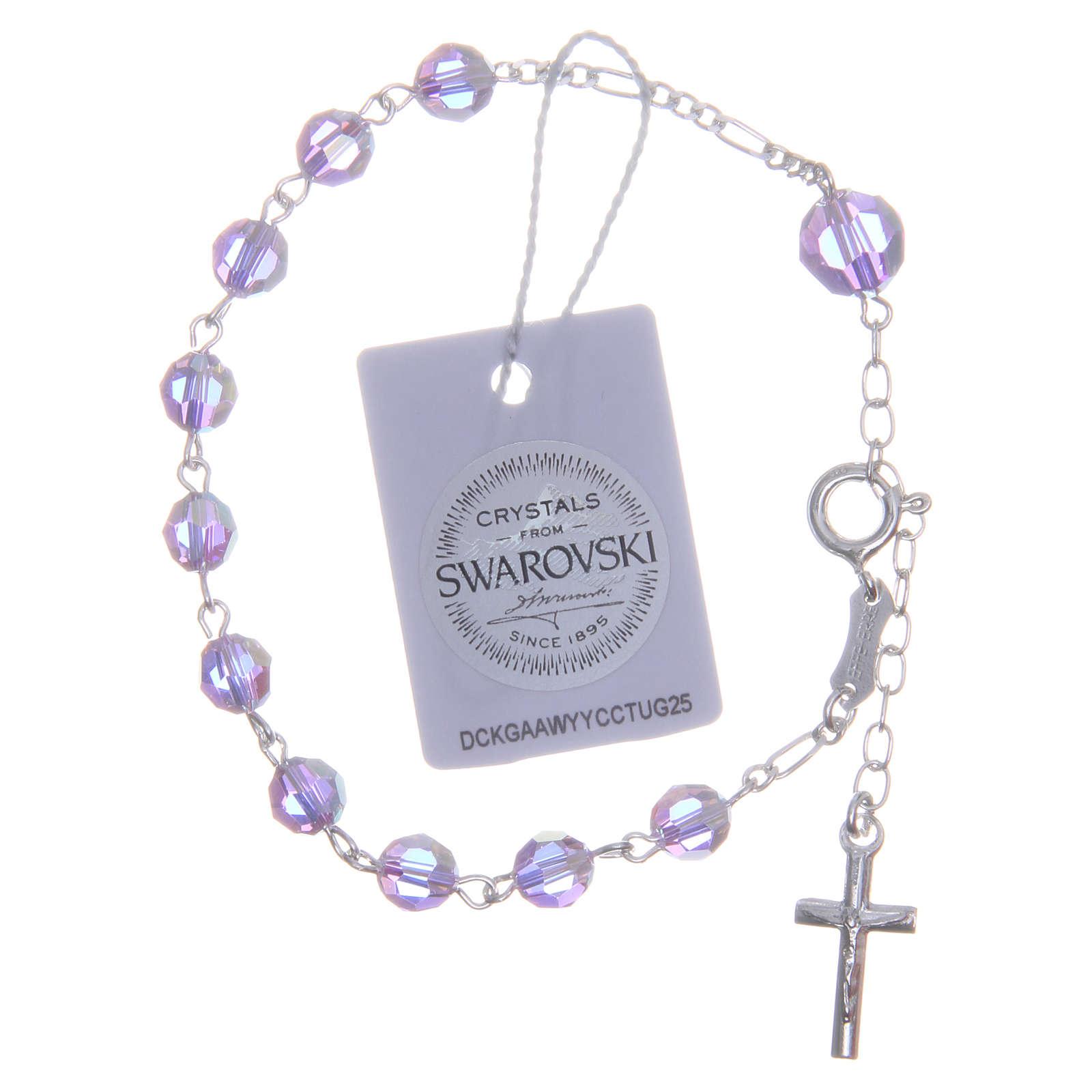 Bracciale rosario cristallo Swarovski 6 mm viola 4