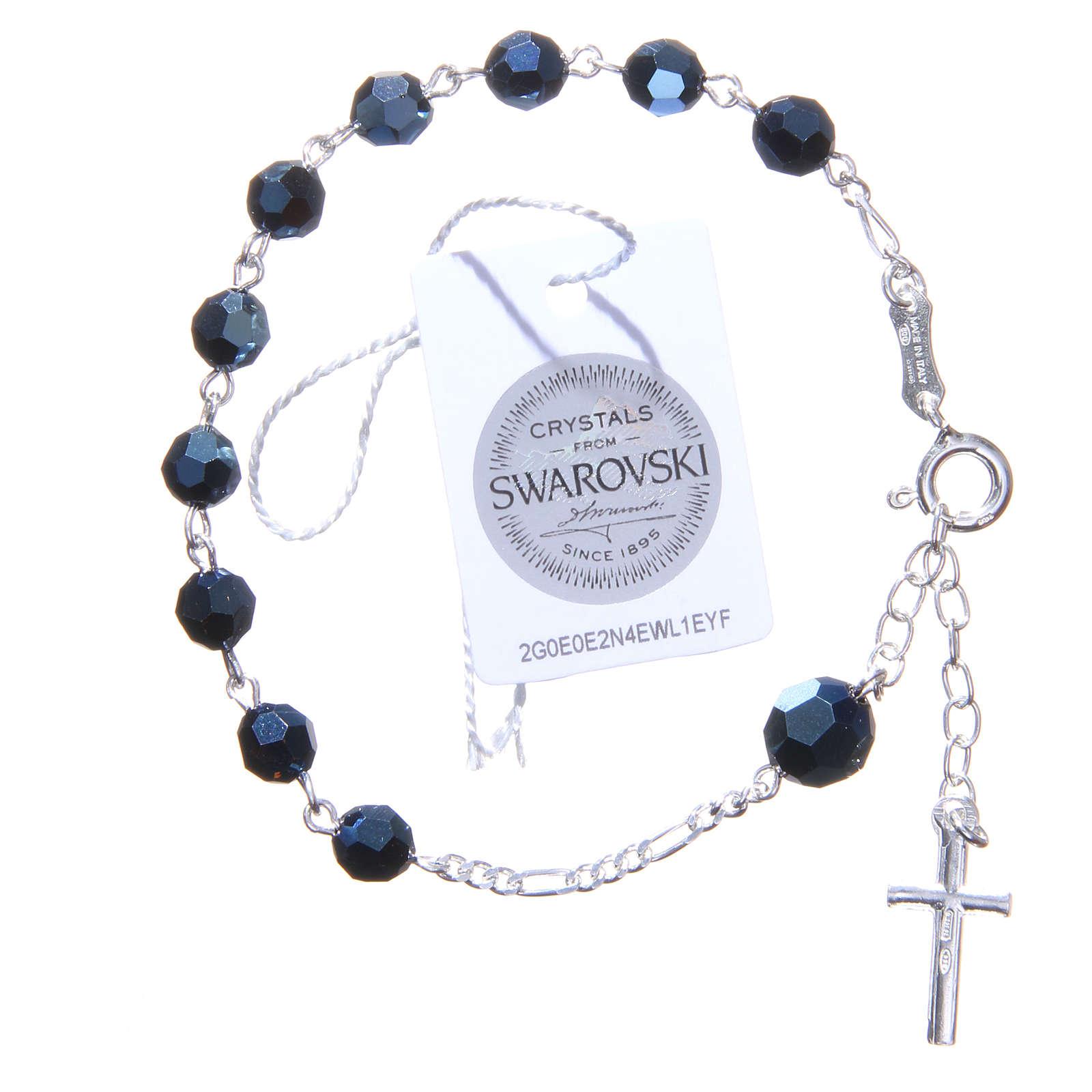 Bracciale rosario cristallo Swarovski 6 mm blu 4