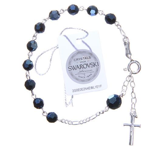 Bracciale rosario cristallo Swarovski 6 mm blu 2