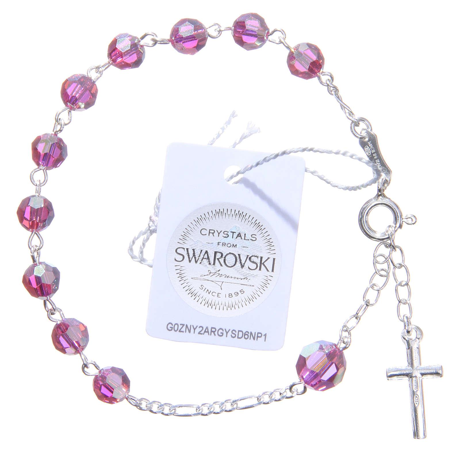 Bracciale rosario cristallo Swarovski 6 mm rosa 4