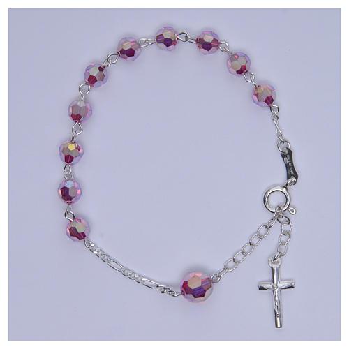 Bracciale rosario cristallo Swarovski 6 mm rosa 3